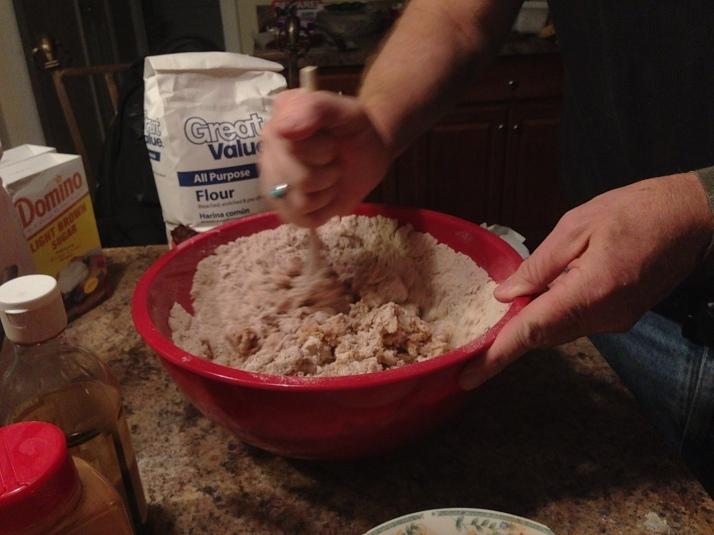 Adding the flour and stirring